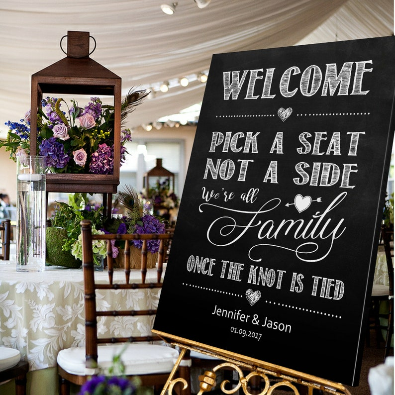 213b2f09d0068e Personalised Wedding Pick a Seat Not a Side Sign Chalkboard