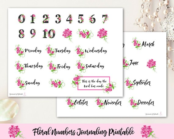 image about Printable Calendar Stickers known as Bible journaling printable/ calendar figures/ weekly planner/ religion planner/ Bible stickers/ flower variety/ flower printable/ Bible stickers