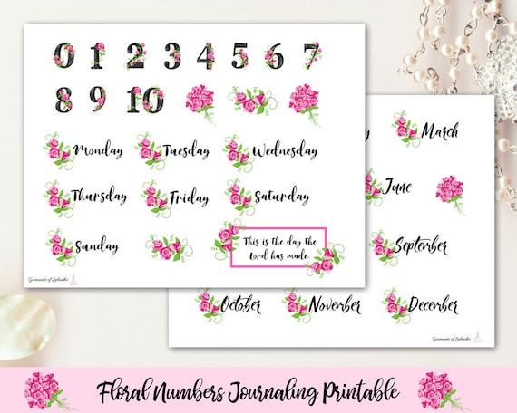 image regarding Printable Calendar Stickers known as Bible journaling printable/ calendar figures/ weekly planner/ religion planner/ Bible stickers/ flower selection/ flower printable/ Bible stickers