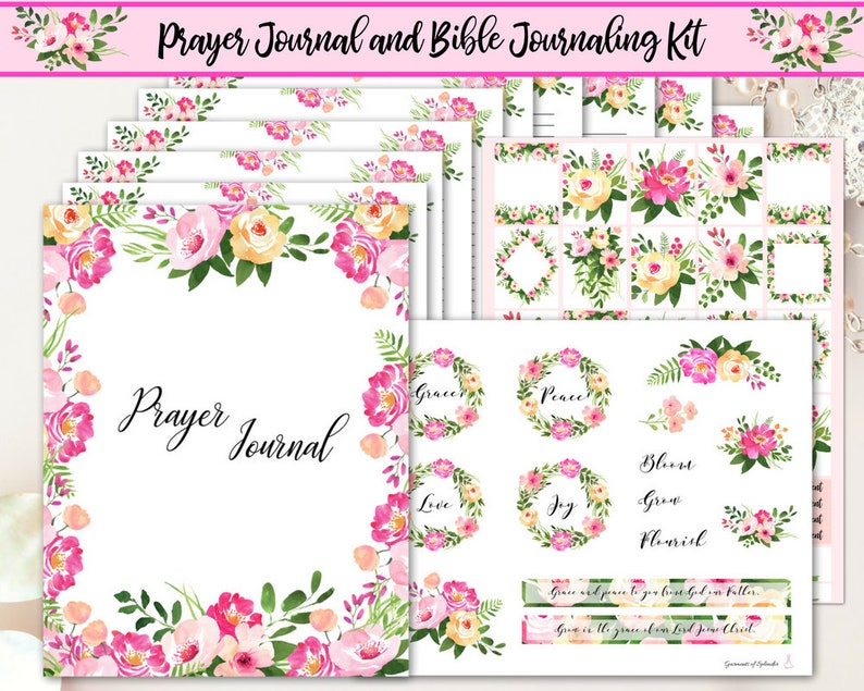 image about Printable Prayer Journal known as Prayer magazine printable/ Bible journaling printable/ floral prayer magazine/ bible journaling stickers/ Christian planner/ Religion planner