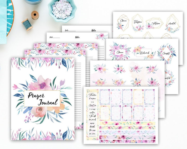 image relating to Prayer Printable named prayer magazine printable, Bible journaling package, Christian magazine, Christian planner, Bible magazine, prayer printable, religion stickers, Bible