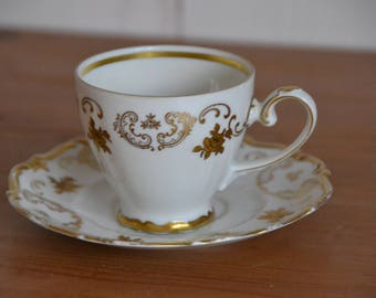 Reichenbach-Porcelain coffee cup, decorated with 24 kt gold