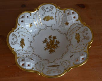 Reichenbach-Porcelain bowl, decorated with 24 kt gold