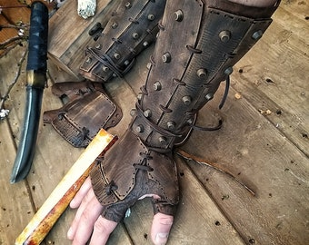 Apocalyptic Samurai Leather bracers, Burning Man, larp or cosplay bracers for fantasy cosplay