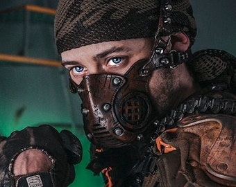 Face Mask Post Apocalyptic leather mask mad max diesel punk wasteland burning man protect Dystopian armor steampunk