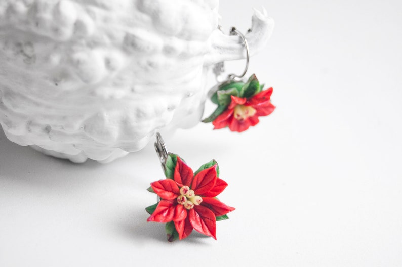 Polymer Clay Christmas Earrings.Poinsettia Christmas Earrings Polymer Clay Plants Jewellery Cold Porcelain Red Flowers
