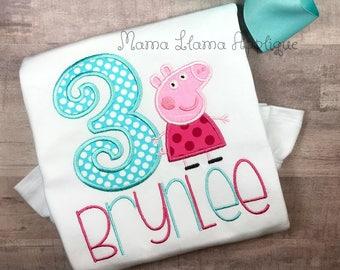 Peppa Pig Birthday Shirt, Girl's Birthday Shirt, Toddler Birthday Shirt, Peppa Pig Shirt, Birthday Shirt, Peppa Pig Birthday Party