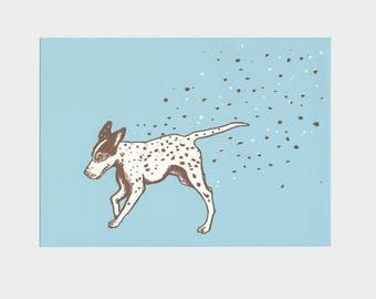 Dog with dots – silkscreen print, hunting dog, blue