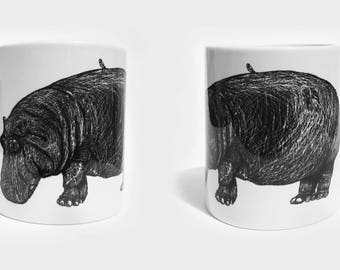 Cup with hippopotamus, ceramic white, illustration, black and white, drawing
