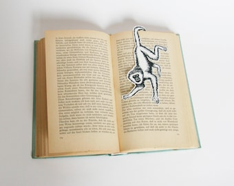 bookmark monkey, paper, black and white, drawing