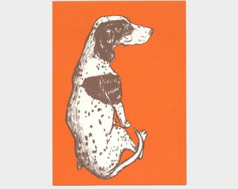 dog with dots – silkscreen print, hunting dog, red