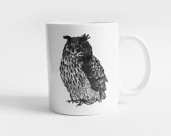 Cup with eagle owl, ceramic white, illustration, black and white, drawing
