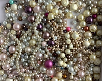White Bead DESTASH Vintage resin glass plastic LOT