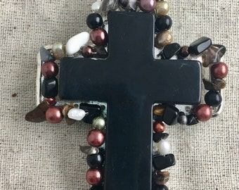 """Acrylic Cross Western Pendant, magnetic closure, black, pearls, 4 1/2"""" x 2 1/2"""", only 1 available"""