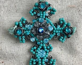 "Beaded Cross Pendant, magnetic closure, blue, rhinestone, 3 1/4"" x 2 1/2"", 2 available"