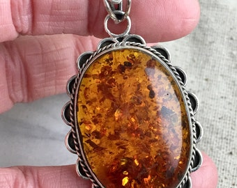 """Synthetic Amber Cabochon Pendant set in Sterling Silver, 2 1/4"""" x 1 1/4"""", only 1 available"""