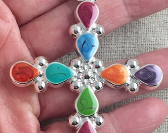 """Multi-Color Enamel Silver Tone Cross Pendant, magnetic closure, 4"""" x 2 1/4"""", only 1 available"""