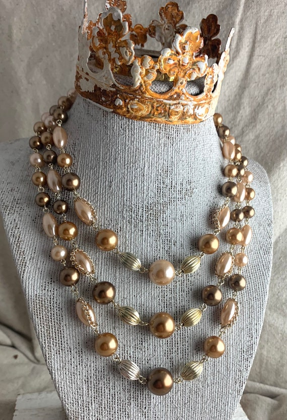 Vintage Three Strand Faux Pearl Necklace from Japa