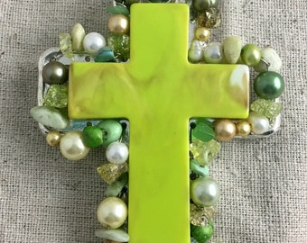 """Lime Green Acrylic Cross Pendant, magnetic bail, beaded, 4 1/2"""" x 2 1/4"""", only 1 available"""