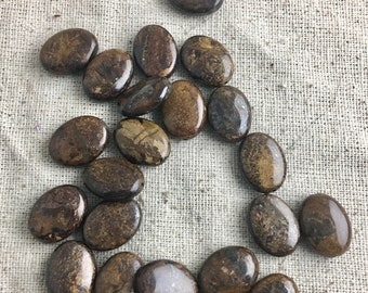 Ironstone Oval Beads, metallic, brown, earth tone, 24 pieces, 15 mm x 12 mm, 1 mm hole, only 1 lot available
