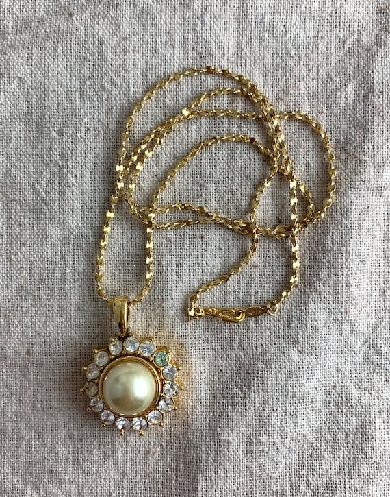 Nolan Miller Pendant Necklace Faux Pearl Lariat On Pearl Necklace