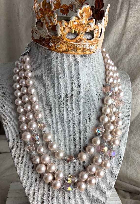 Multi-Strand Necklace and Matching Clip Earrings Sweet as Candy Pink Vintage 1950s-60s