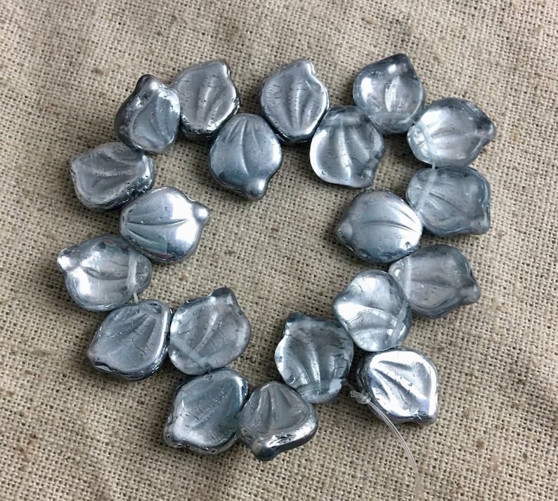 Beads Silver Plated Etched Leaf Bead 14mm