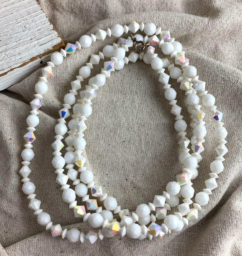 AB finish 52 long Vintage White Faceted Glass Bead Necklace spring ring closure