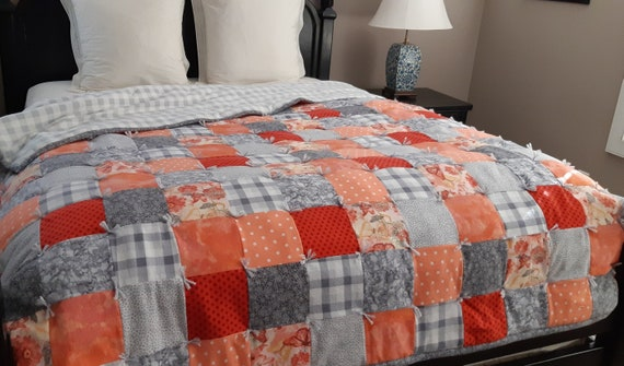 Coral And Grey Butterfly Quilt Queen Size Orange Flannel Etsy