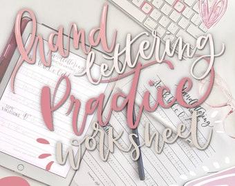 Hand lettering practice worksheet