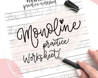 Cursive monoline hand lettering style practice worksheet