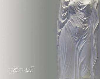 Bas Relief 3D Wall Art Undine Sculptural Painting Sculpture Textured