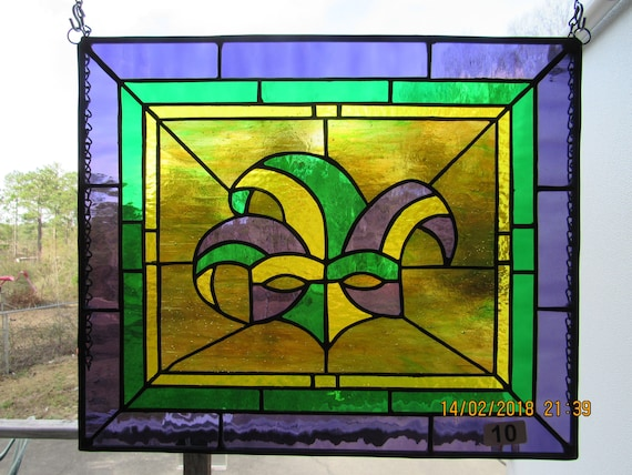 Stained Glass New Orleans.Stained Glass Mardi Gras Mask Panel Stained Glass Panel New Orleans Mardi Gras