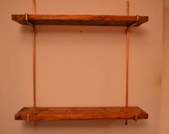 Simple Copper and pine shelves