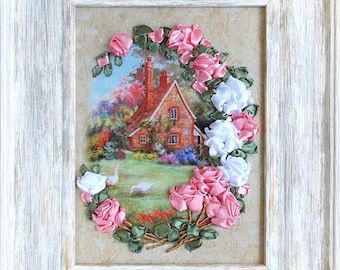 House in Flowers, silk ribbon, 3d, dimensional flowers embroidery DIY kit, wall hanging artwork craft set