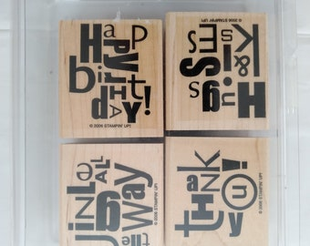 Stampin' Up! Alphabet Soup Stamp Sets scrapbooking supply Words, Letters, Greatings themed