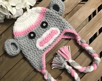 a0f7fc97a74 Sock Monkey Earflap Hat Crochet Sock Monkey Baby Hat Unique