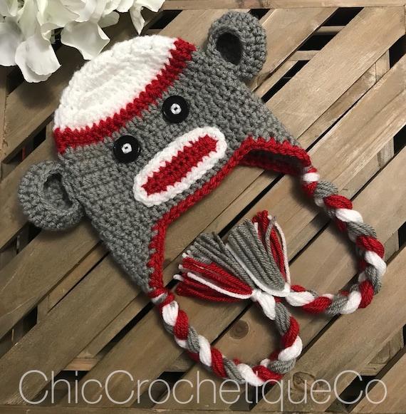 8b349295e5b Sock Monkey Earflap Hat Crochet Sock Monkey Baby Hat Unique