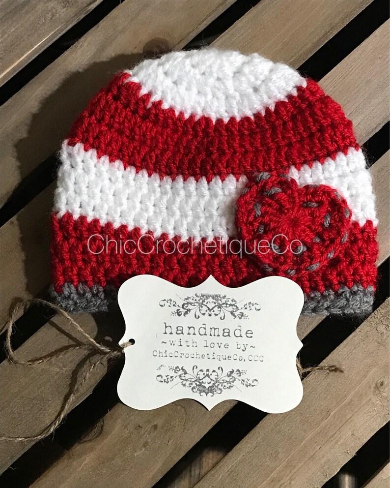 Newborn Photo Prop Crochet Baby Boy Girl Red and White Stripe Heart Hat Unique Baby Shower Gift Valentines Heart Beanie Hat