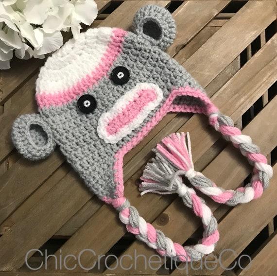 2b53997a502 Sock Monkey Earflap Hat Baby Girl Sock Monkey Hat Unique