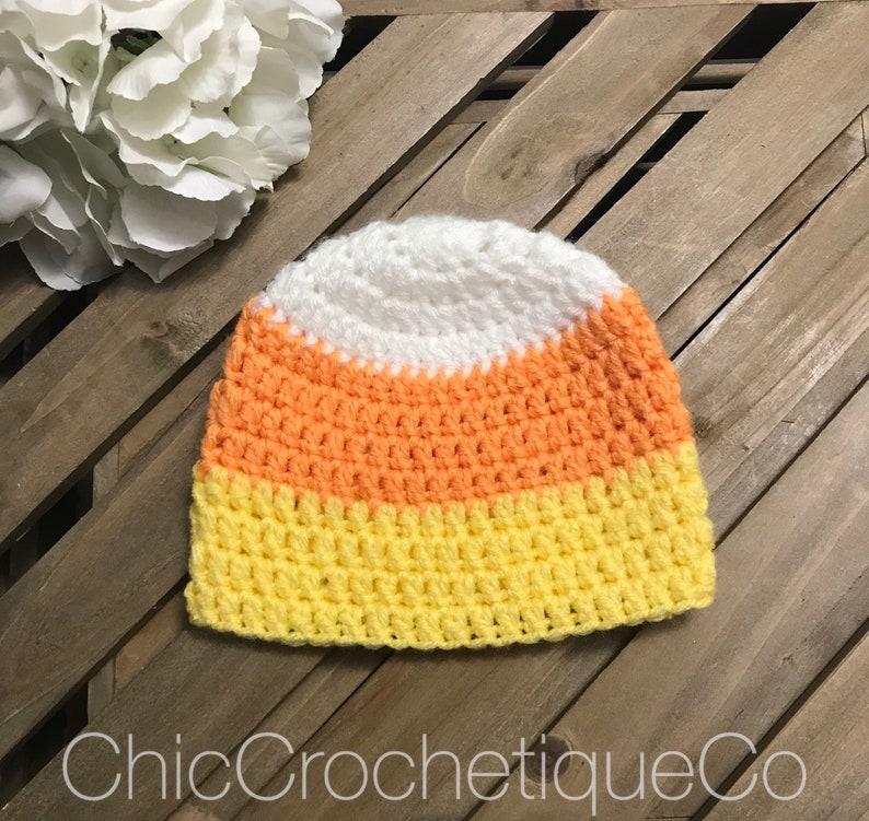 64334b6db2fdd Candy Corn Newborn Baby Boy or Girl Beanie Hat, Halloween Beanie Hat for  Kids Crochet, Newborn Photo Shoot Prop, Unique Baby Shower Gift