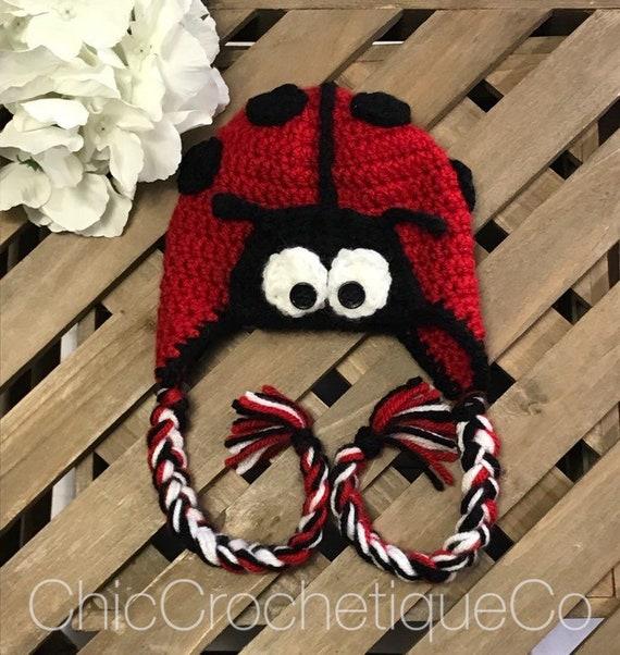 c6538aa6fa2 Ladybug Hat Baby Girl or Boy Ladybug Earflap Hat Newborn