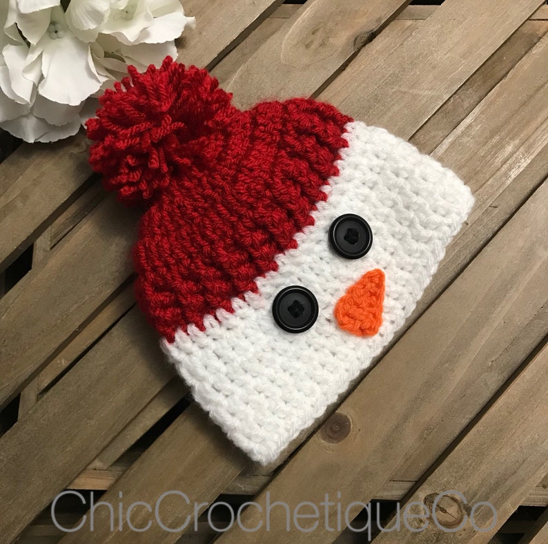 ab17e5eacd9de Snowman Beanie Hat for Baby Boy or Girl Crochet Snowman Hat