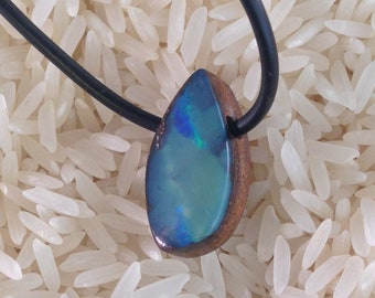 Colorful Blue Boulder Opal Pendant from Queensland, Australia-17 cts.