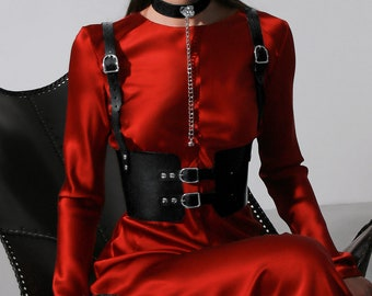 1980s 27/'/'-32/'/' Black wide corset leather belt for women