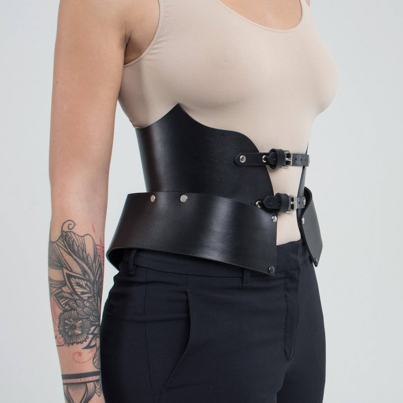 0e485c9774 Black Leather Corset Belt Underbust Corset Leather Waist