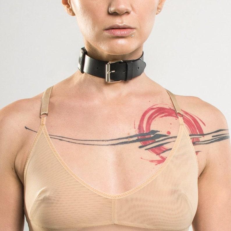 Minimalist Black Leather Collar Choker BDSM Collar Goth Bondage Fetish Kink