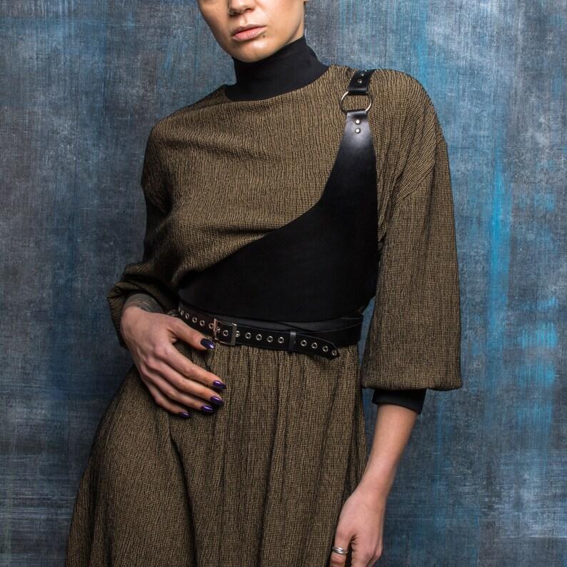 Asymmetrical Body Harness  Warrior Leather Harness for Women