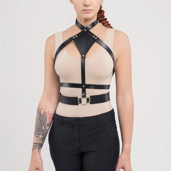 Black body harness,Black harness,Fetish Harness,Bdsm harness,Body Harness,Body Belt,Women Harness,High Fashion,harness top