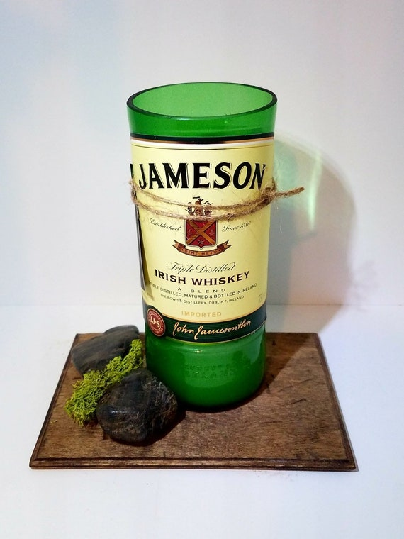 Cut Bottle Re-purposed Recycled Liquor JAMESON Whiskey Soy Candle